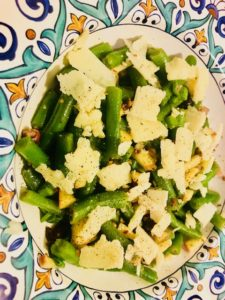 Green Bean Salad with Manchego Cheese and Truffle Honey White Balsamic Vinaigrette