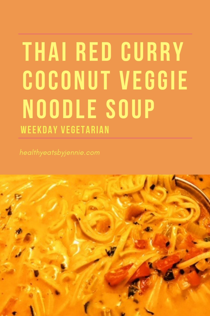 thai red curry coconut veggie noodle soup